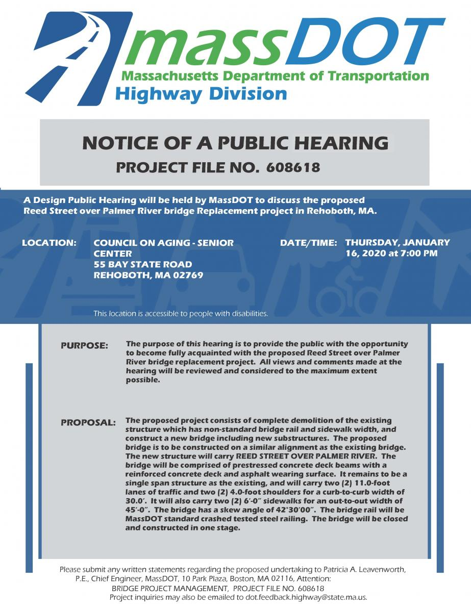 Reed Street Bridge Replacement Public Hearing